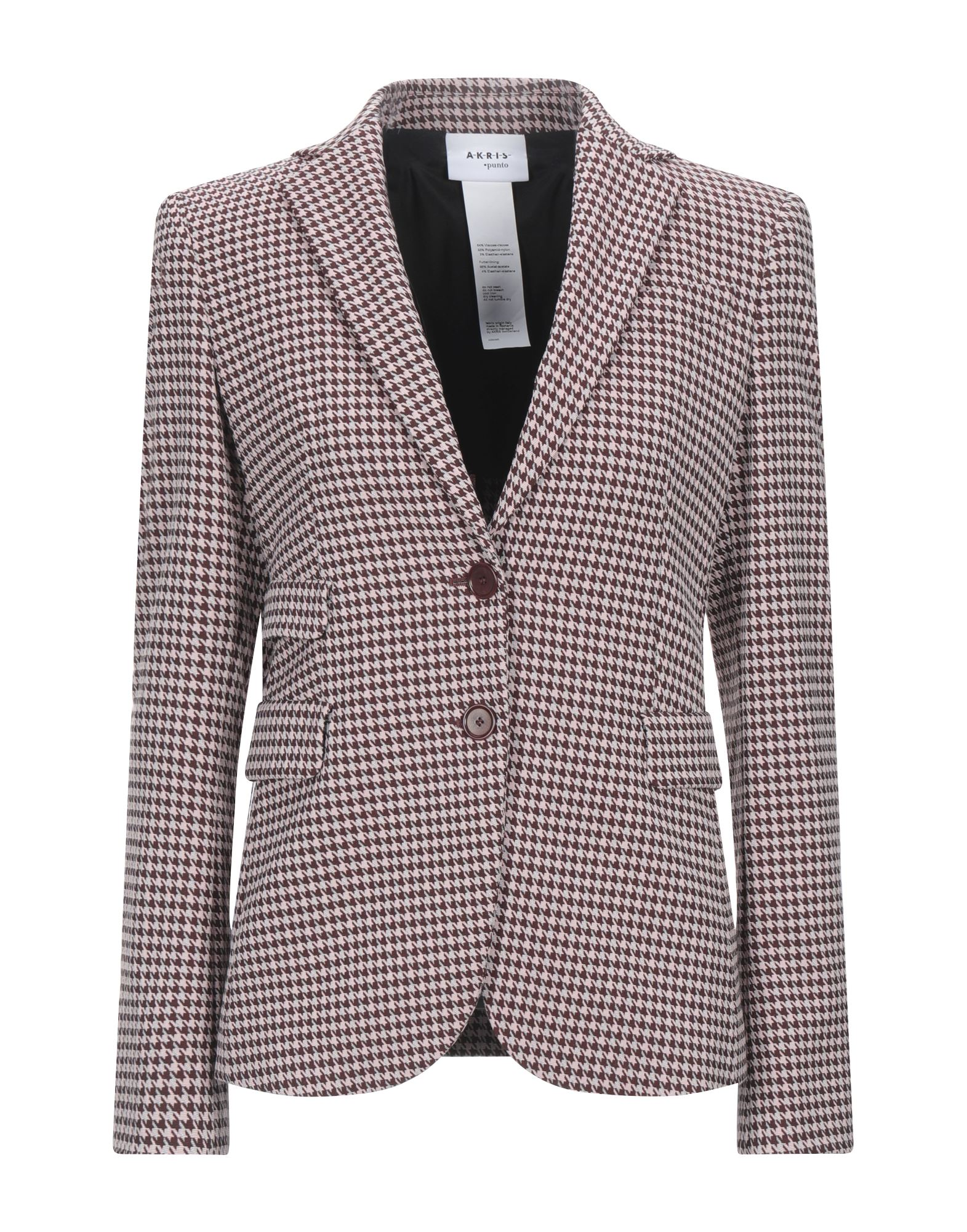 AKRIS PUNTO Suit jackets. plain weave, no appliqués, houndstooth, lapel collar, long sleeves, single-breasted, multipockets, button closing, fully lined, stretch. 64% Viscose, 33% Polyamide, 3% Elastane