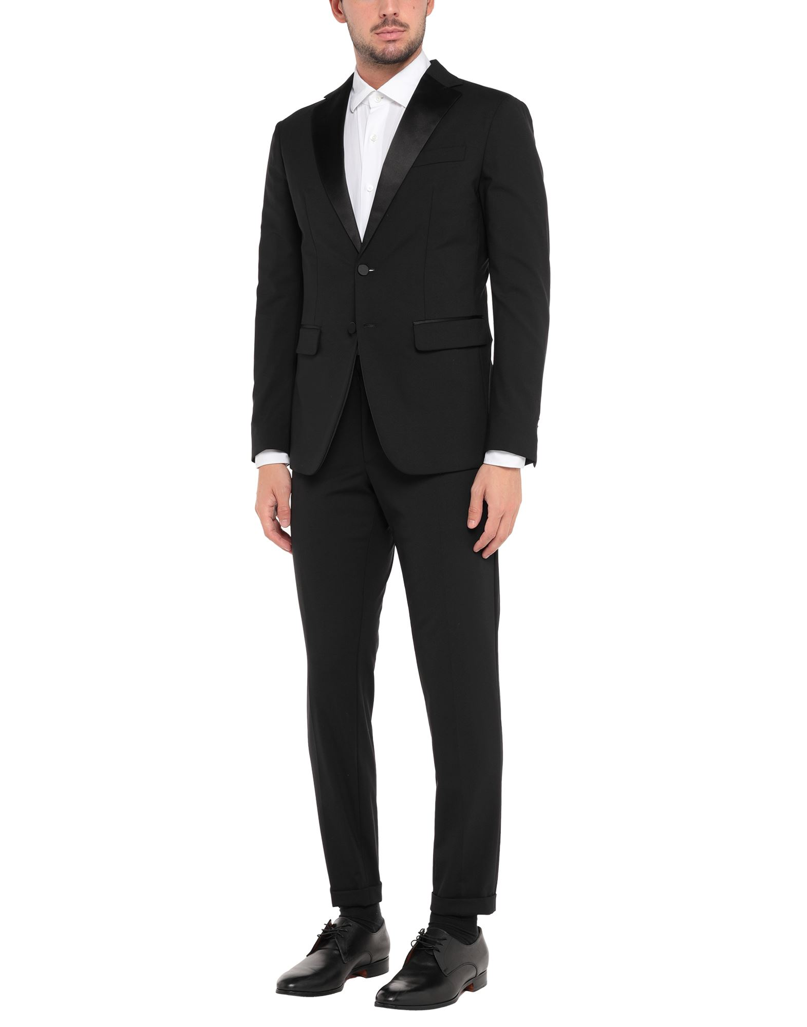 DSQUARED2 Suits. flannel, no appliqués, basic solid color, lapel collar, long sleeves, single-breasted, multipockets, mid rise, button closing, single chest pocket, semi-lined, straight-leg pants, button, zip, stretch. 95% Virgin Wool, 5% Elastane