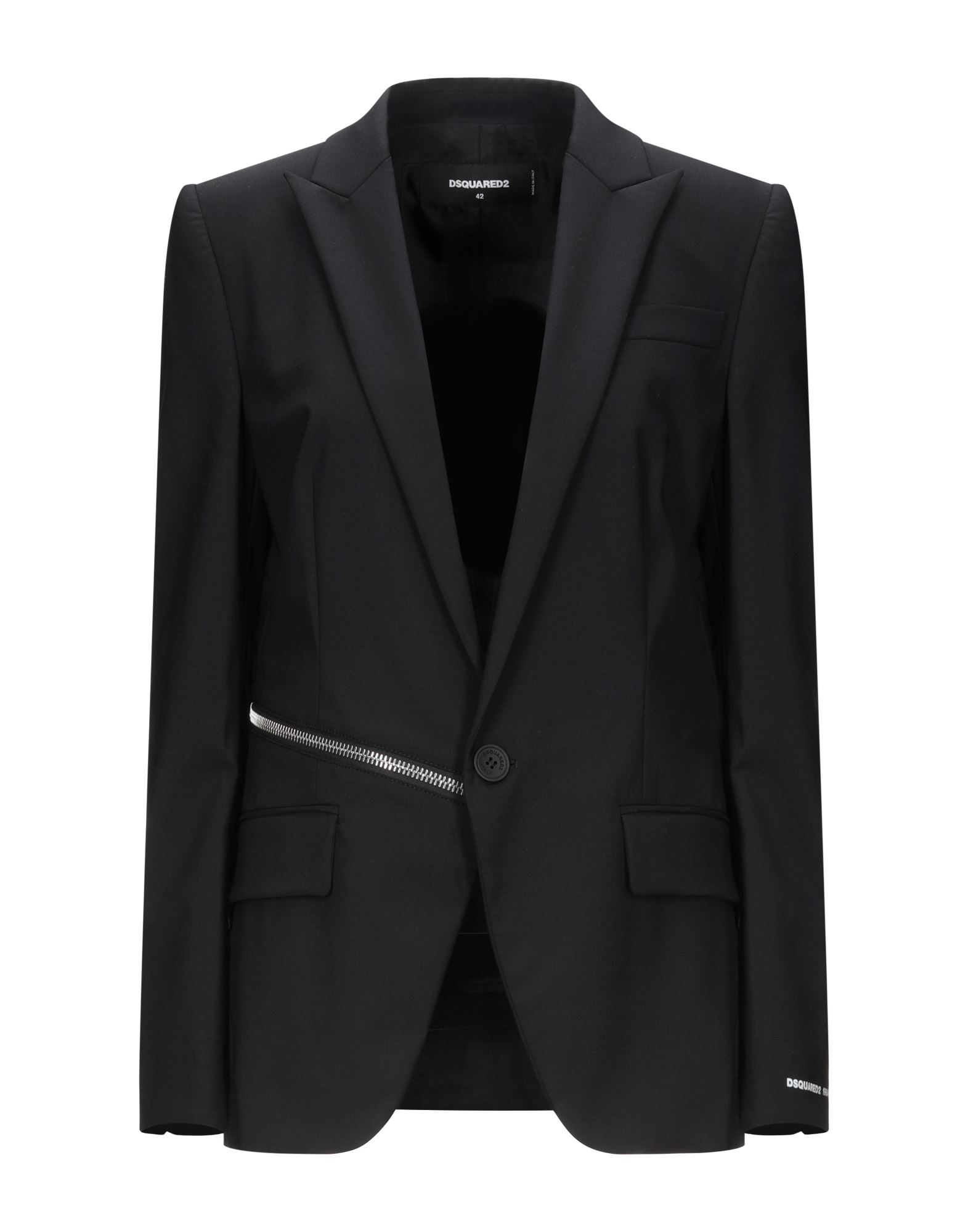 DSQUARED2 Suit jackets. cool wool, metal applications, solid color, lapel collar, long sleeves, single-breasted, multipockets, 1 button, single chest pocket, fully lined, stretch. 95% Virgin Wool, 5% Elastane