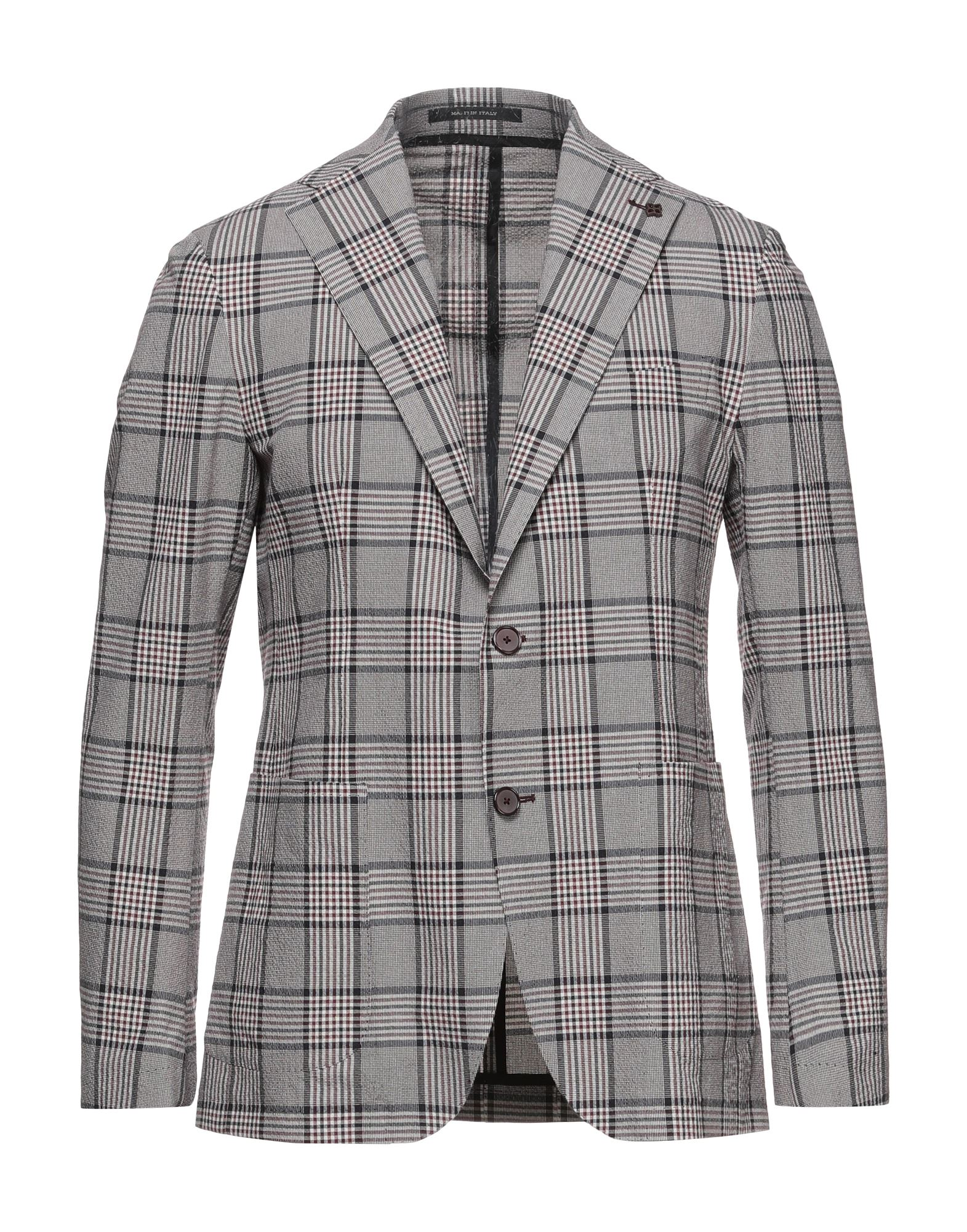 TAGLIATORE Suit jackets. plain weave, brooch, glen plaid, lapel collar, long sleeves, single-breasted, multipockets, button closing, single chest pocket, unlined, dual back vents, two inside pockets, stretch. 98% Cotton, 2% Elastane