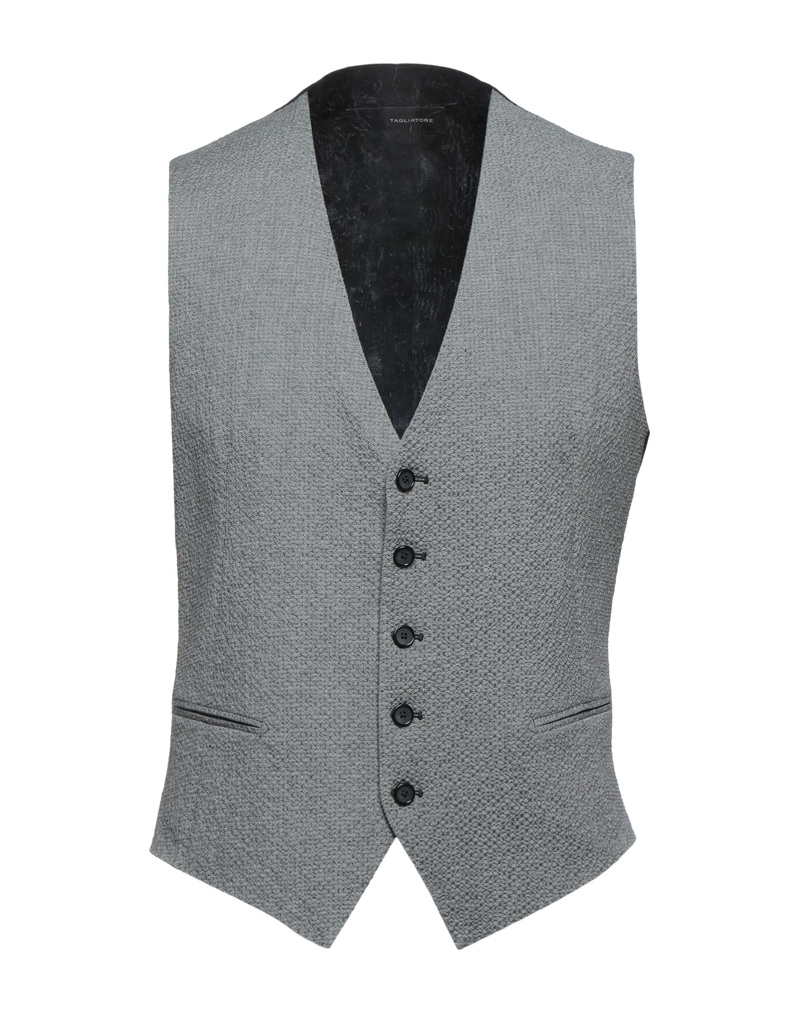 TAGLIATORE Vests. plain weave, wrinkled effect, half-belt, basic solid color, v-neck, sleeveless, single-breasted, multipockets, button closing, pleated pocket, fully lined, stretch. 96% Cotton, 3% Elastane, 1% Polyamide