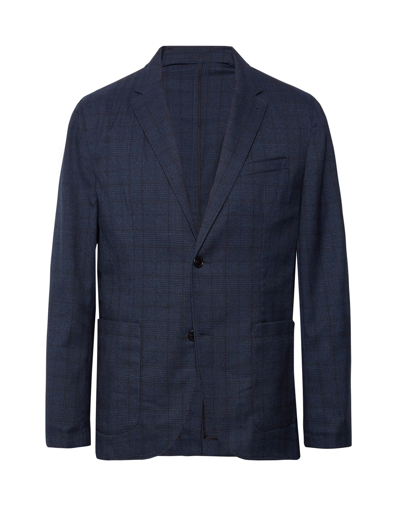 CLUB MONACO Suit jackets. plain weave, no appliqués, glen plaid, lapel collar, long sleeves, single-breasted, multipockets, button closing, single chest pocket, one inside pocket, unlined, back split, stretch. 64% Polyester, 34% Viscose, 2% Elastane