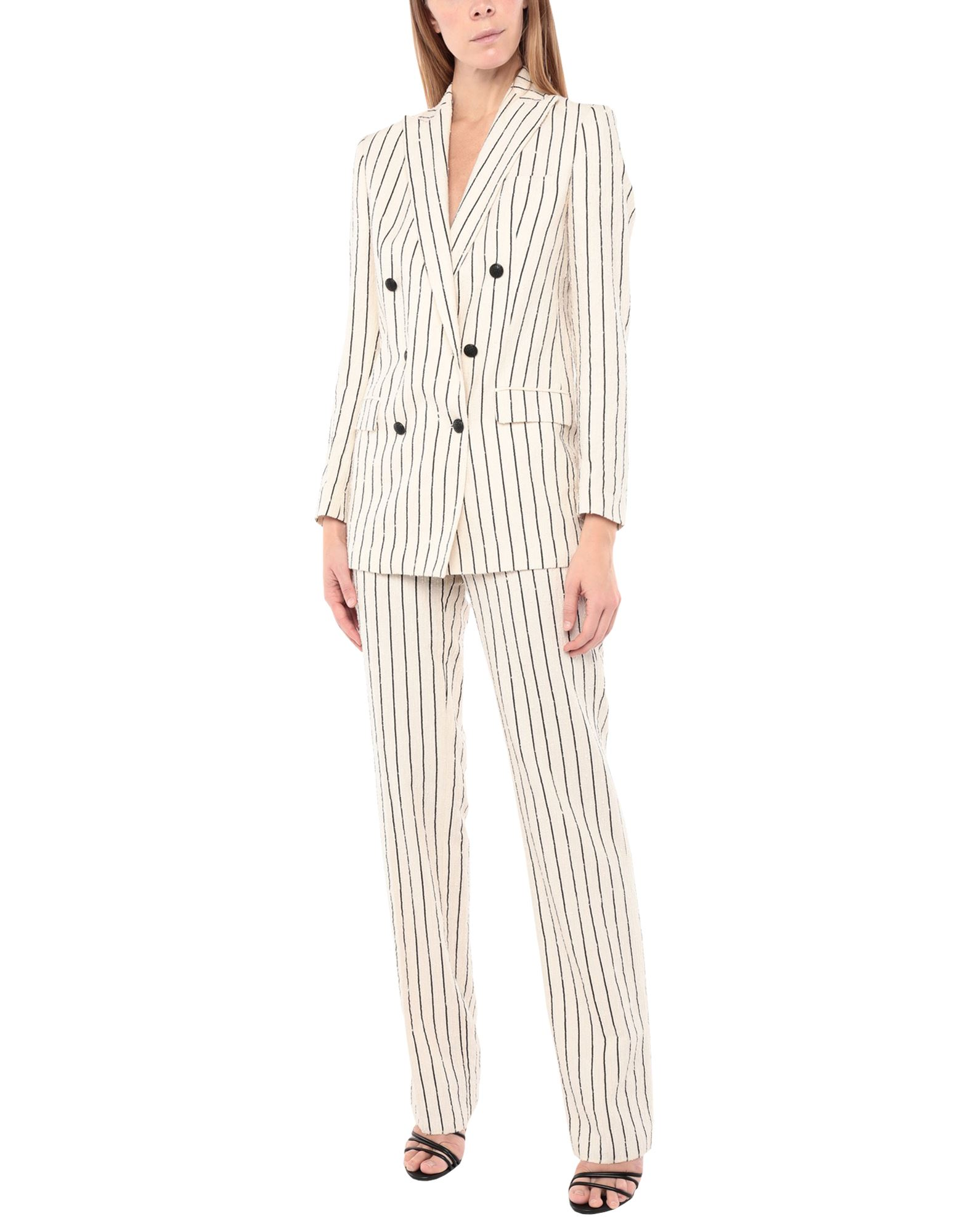 TAGLIATORE Women\\\'s suits. bouclé, no appliqués, stripes, lapel collar, long sleeves, double-breasted, multipockets, button closing, mid rise, single chest pocket, straight-leg pants, hook-and-bar, zip, fully lined, small sized. 48% Cotton, 44% Viscose, 8% Polyamide