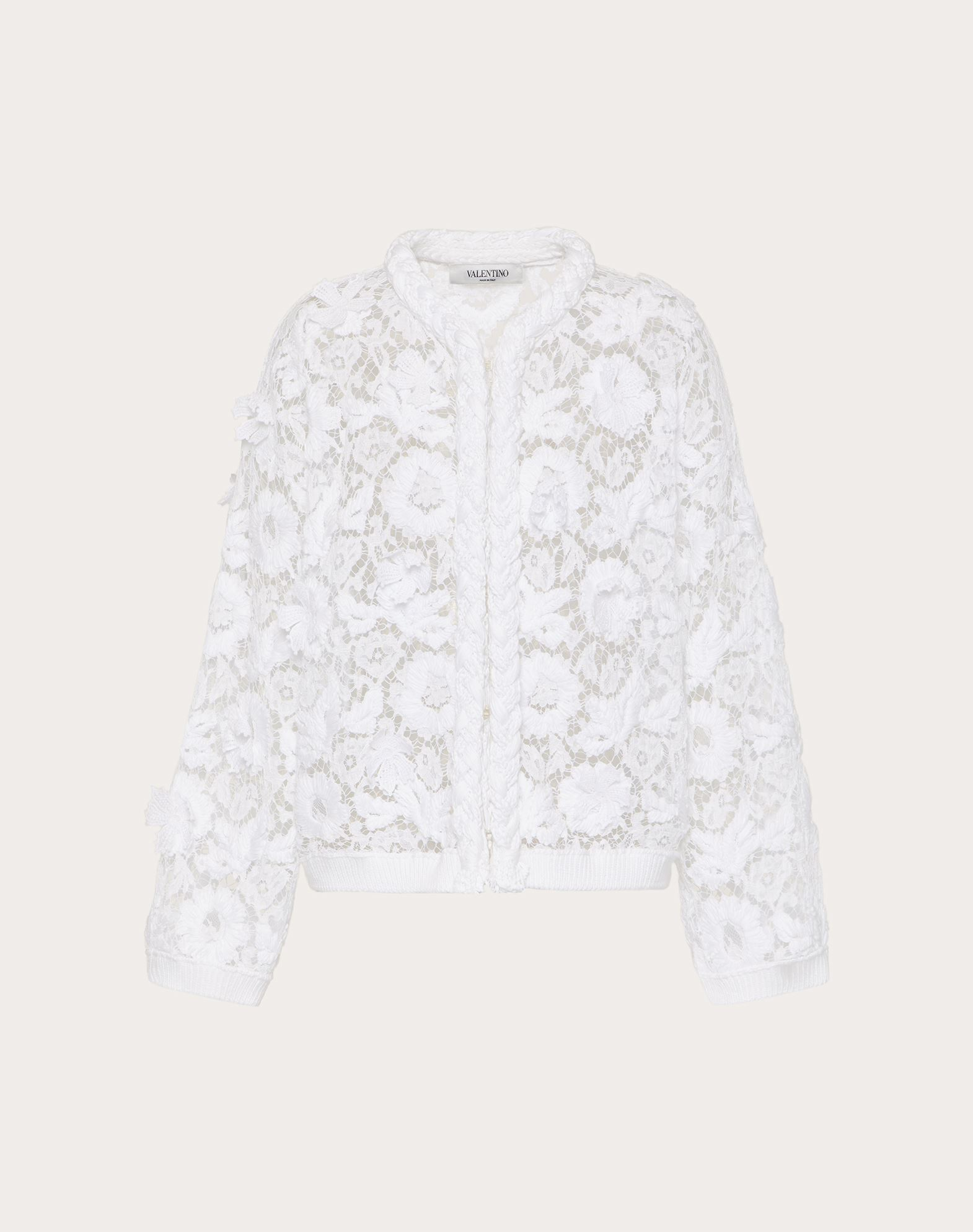 Valentino VALENTINO CARDIGAN IN COTTON AND EMBROIDERED LACE