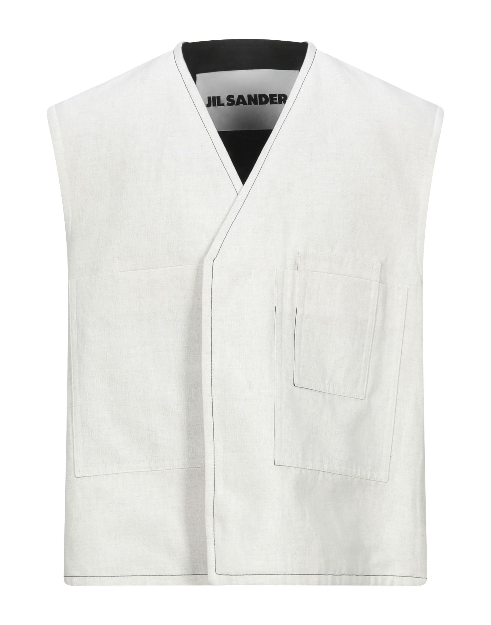 JIL SANDER Vests. contains non-textile parts of animal origin, plain weave, no appliqués, solid color, v-neck, sleeveless, single-breasted, multipockets, button closing, fully lined. 65% Cotton, 35% Linen