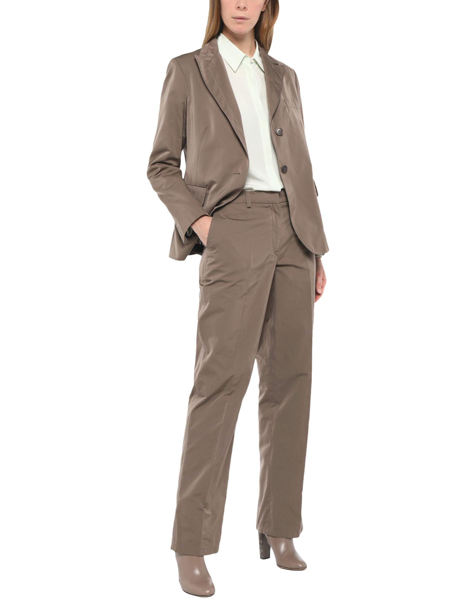JIL SANDER Women\\\'s suits. satin, no appliqués, basic solid color, lapel collar, long sleeves, single-breasted, multipockets, low waisted, button, zip, single chest pocket, fully lined, dual back vents, straight-leg pants, hook-and-bar, zip, large sized. 68% Polyester, 32% Cotton