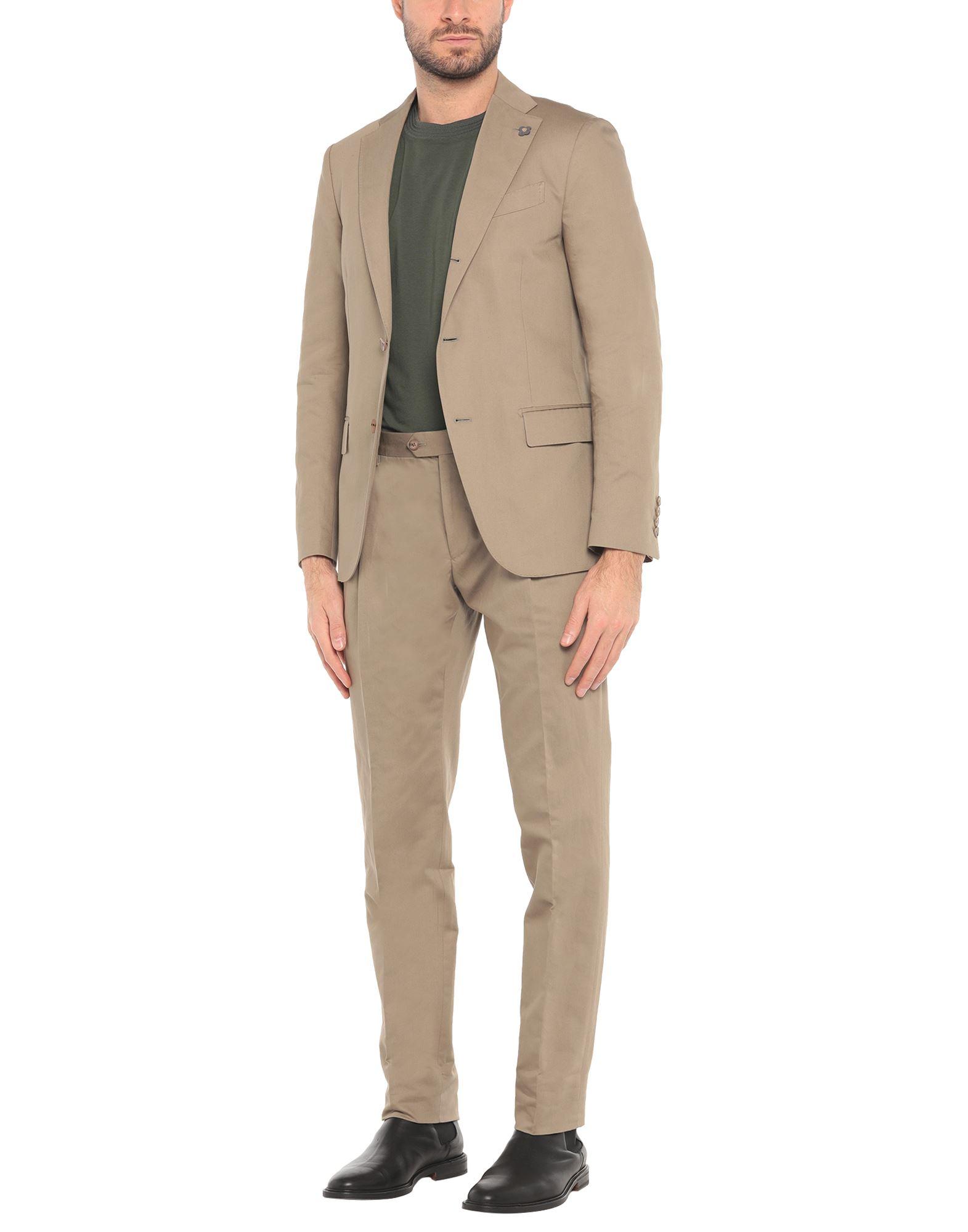 《セール開催中》LARDINI メンズ スーツ カーキ 48 コットン 71% / リネン 29%