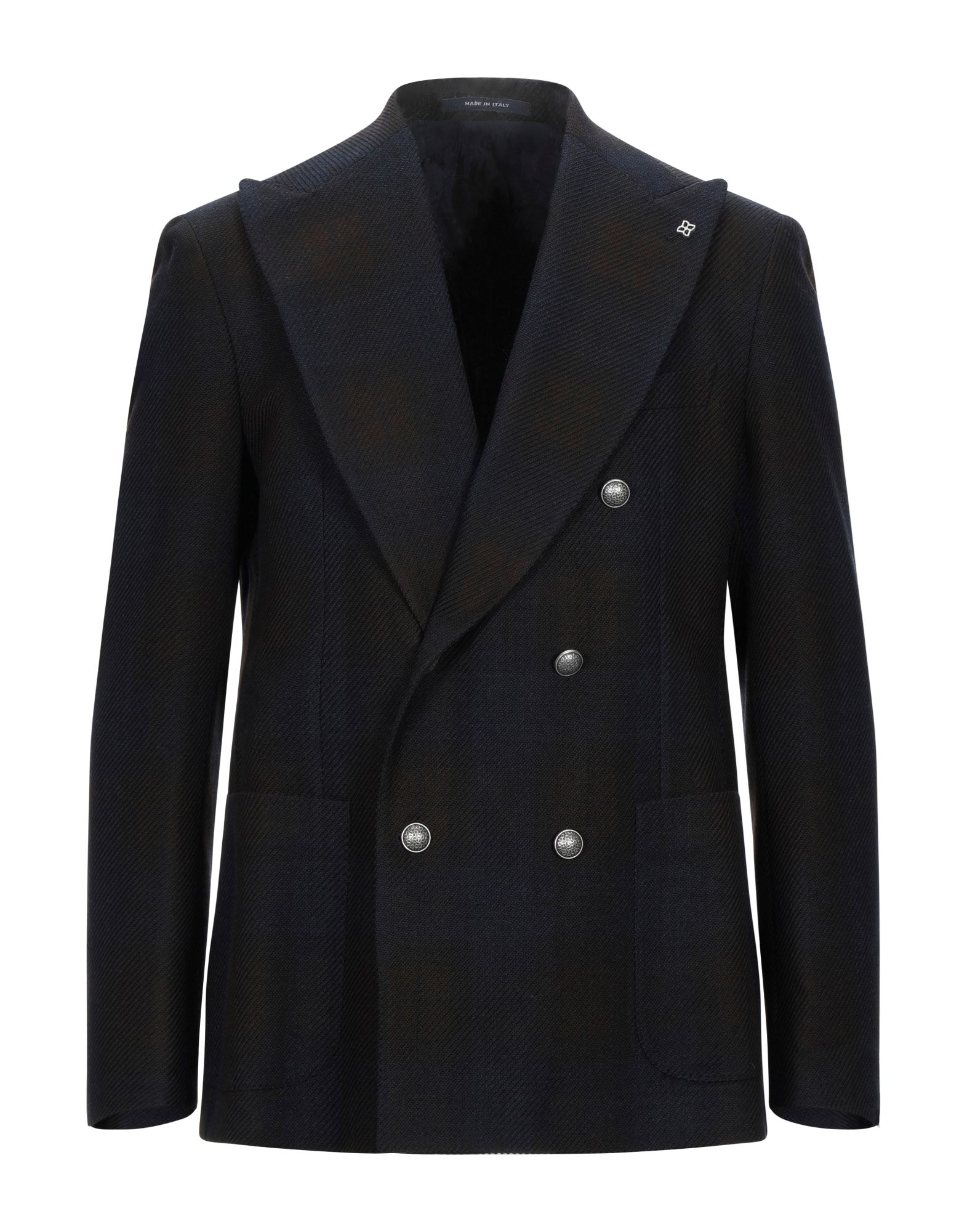 TAGLIATORE Suit jackets. flannel, detachable application, tartan plaid, lapel collar, long sleeves, double-breasted, multipockets, button closing, single chest pocket, two inside pockets, semi-lined, dual back vents. 61% Virgin Wool, 39% Cotton