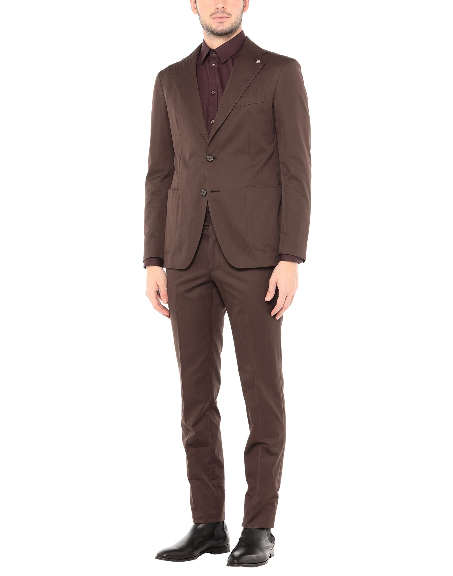 TAGLIATORE Suits. plain weave, brooch, basic solid color, lapel collar, long sleeves, single-breasted, multipockets, mid rise, button closing, single chest pocket, four internal pockets, semi-lined, button, zip. 100% Cotton