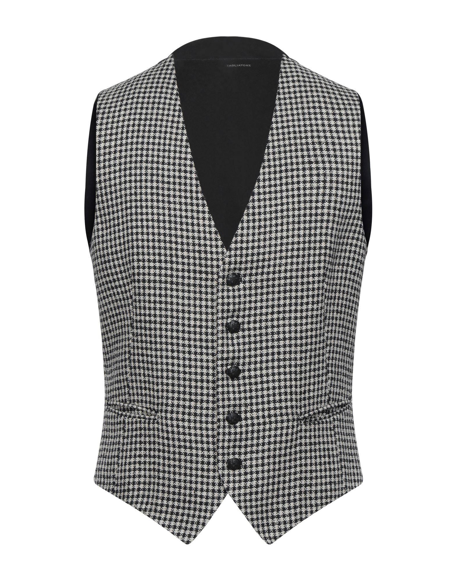 TAGLIATORE Vests. plain weave, no appliqués, two-tone, v-neck, sleeveless, single-breasted, multipockets, button closing, fully lined. 66% Linen, 20% Cotton, 14% Polyester