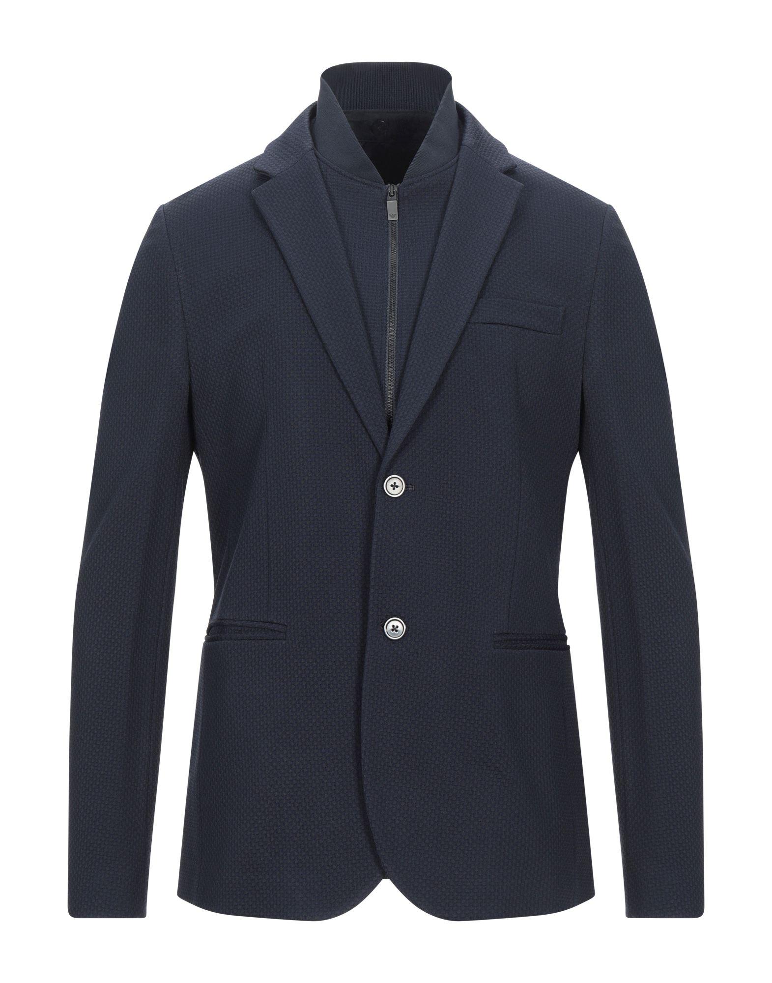 《セール開催中》EMPORIO ARMANI メンズ テーラードジャケット ダークブルー 52 レーヨン 61% / ナイロン 25% / バージンウール 10% / ポリウレタン 4%