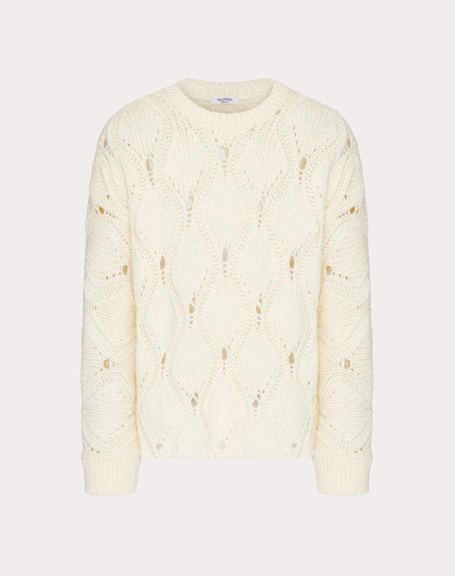 Valentino Uomo Wool Crewneck Sweater In Ivory