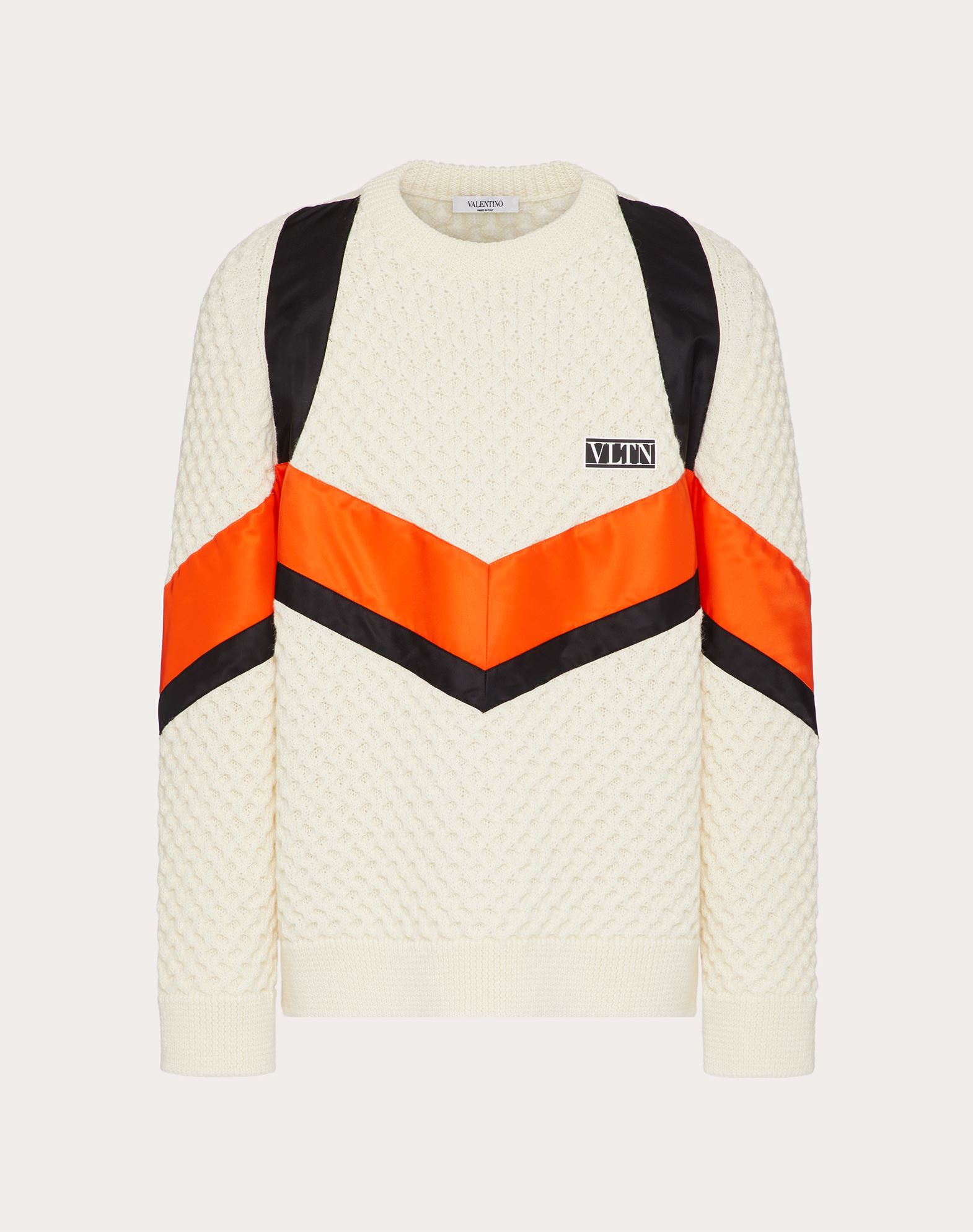 Valentino Uomo Crewneck Wool Sweater With Vltn Tag Color Block In Ivory/multicolor