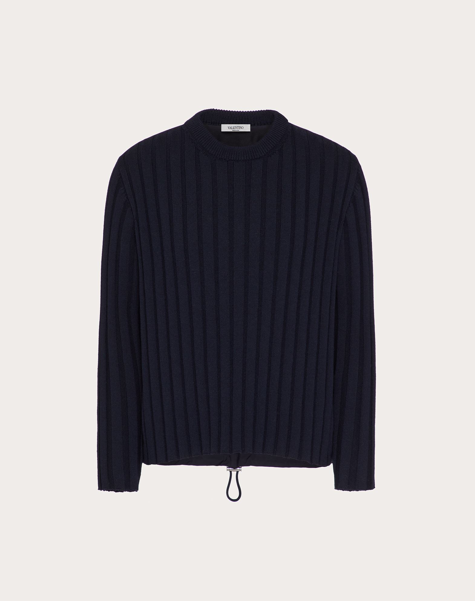 Valentino Uomo Crewneck Sweater With Wool And Nylon Mix In Navy