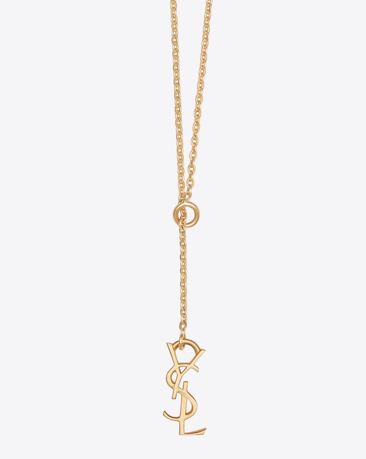 u200esaint laurent  u200emonogram thin tie necklace in gold vermeil  u200e