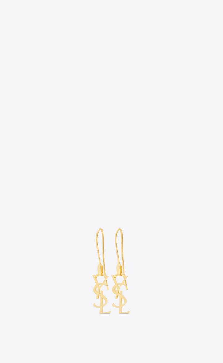 u200esaint laurent  u200emonogram thin earrings in gold vermeil  u200e