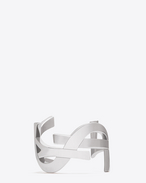 SAINT LAURENT Cuffs And Bangles D MONOGRAM CUFF IN PALLADIUM-TONED BRASS f