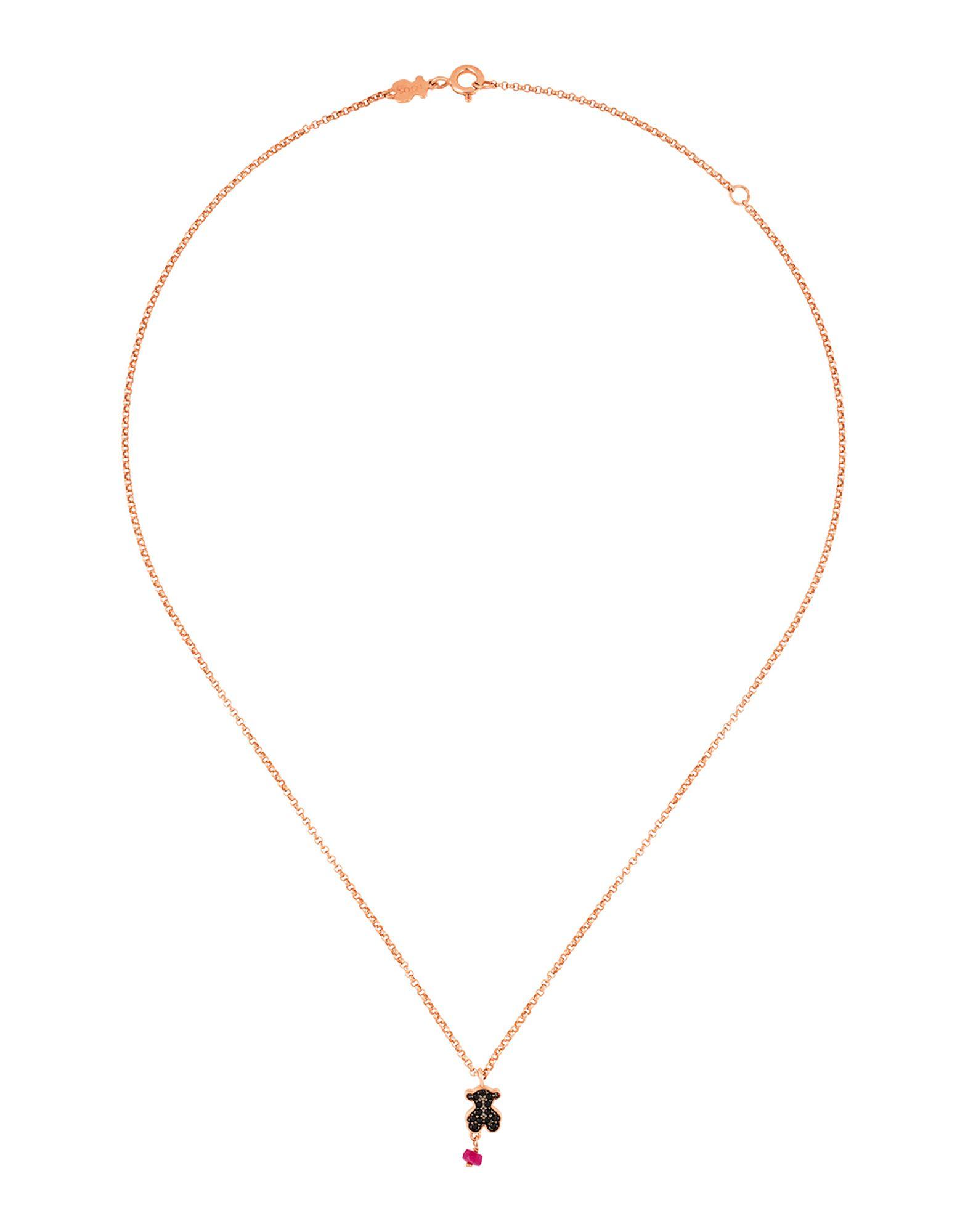 《セール開催中》TOUS レディース ネックレス カッパー シルバー925/1000 Pink Silver Motif Necklace with Spinel and Ruby