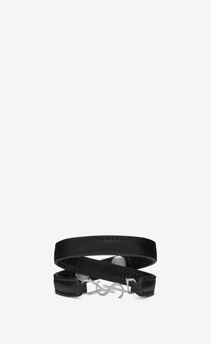 Ysl Double Wrap Bracelet In Black Leather And Silver Toned Br Front View