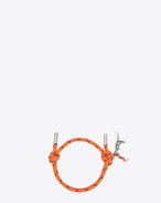SURF Dinosaur rope bracelet in Orange Nylon and Oxidized Silver-Toned Brass