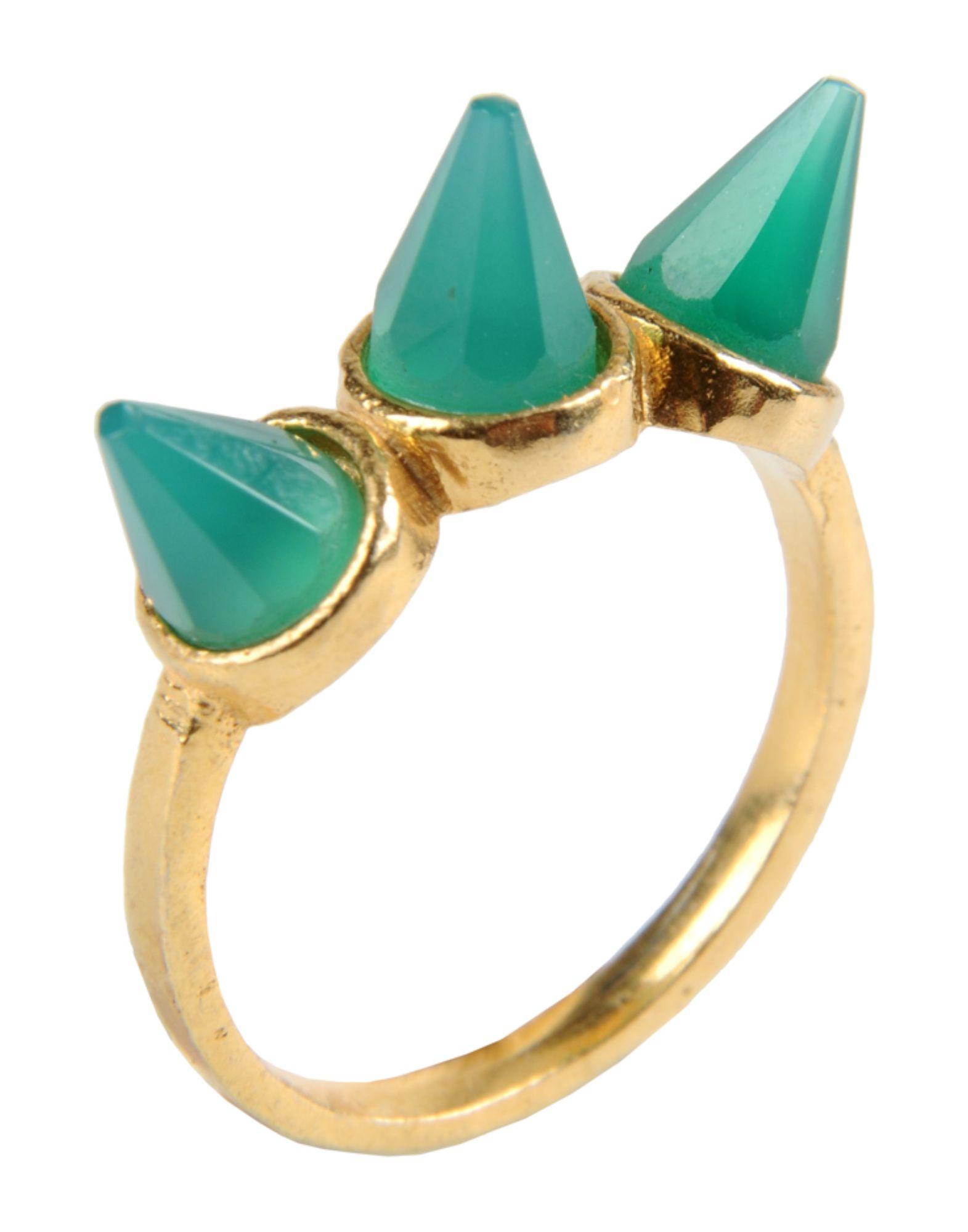 《セール開催中》FIRST PEOPLE FIRST レディース 指輪 エメラルドグリーン 7 真鍮/ブラス Hand made Gemstone Ring
