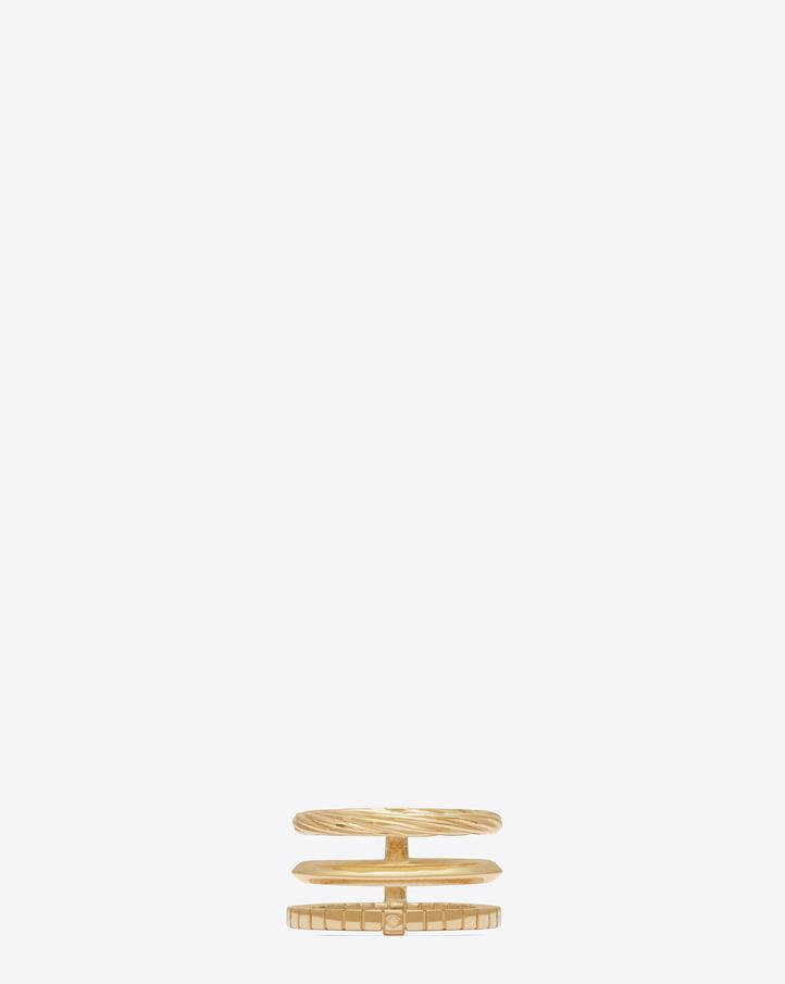 saint laurent armure phalange ring in gold vermeil