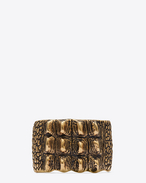 SAINT LAURENT Cuffs And Bangles D ANIMALIER Crocodile Cuff in Old Gold-Toned Brass f