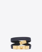LE TROIS CLOUS Double Wrap Bracelet in Navy Blue Leather and Gold-Toned Brass