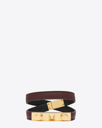 SAINT LAURENT Leather Bracelets D LE TROIS CLOUS Double Wrap Bracelet in Bordeaux Leather and Gold-Toned Brass f