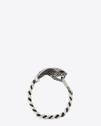SAINT LAURENT Cuffs And Bangles U ANIMALIER Cobra Gourmette Bracelet in Silver-Toned Brass and Black Crystal f