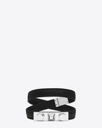le trois clous double wrap bracelet in black leather and silver-toned brass