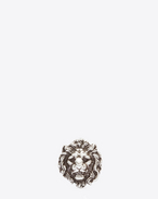SAINT LAURENT Brooch U LION Pin in Oxidized Silver-Toned Brass f
