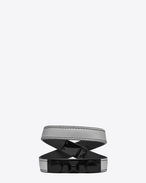 SAINT LAURENT Leather Bracelets U le trois clous double wrap bracelet in silver metallic leather and black matte enamel f
