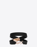 YSL Double Wrap Bracelet in Black Grained Leather and Rose Gold-Toned Metal