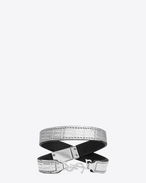 YSL Double Wrap Bracelet in Pale Silver Lizard Embossed Leather and Silver-Toned Metal