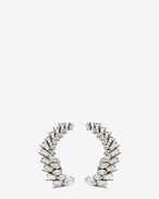SAINT LAURENT Earrings D COCKTAIL Laurel Earrings in Silver-Toned Brass and Clear Crystal f