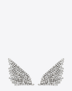 COCKTAIL Wing Earrings in Silver-Toned Brass and Clear Crystal