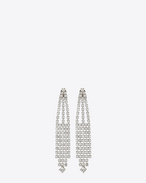 SAINT LAURENT Earrings D COCKTAIL Fan Earrings in Silver-Toned Brass and Clear Crystal f