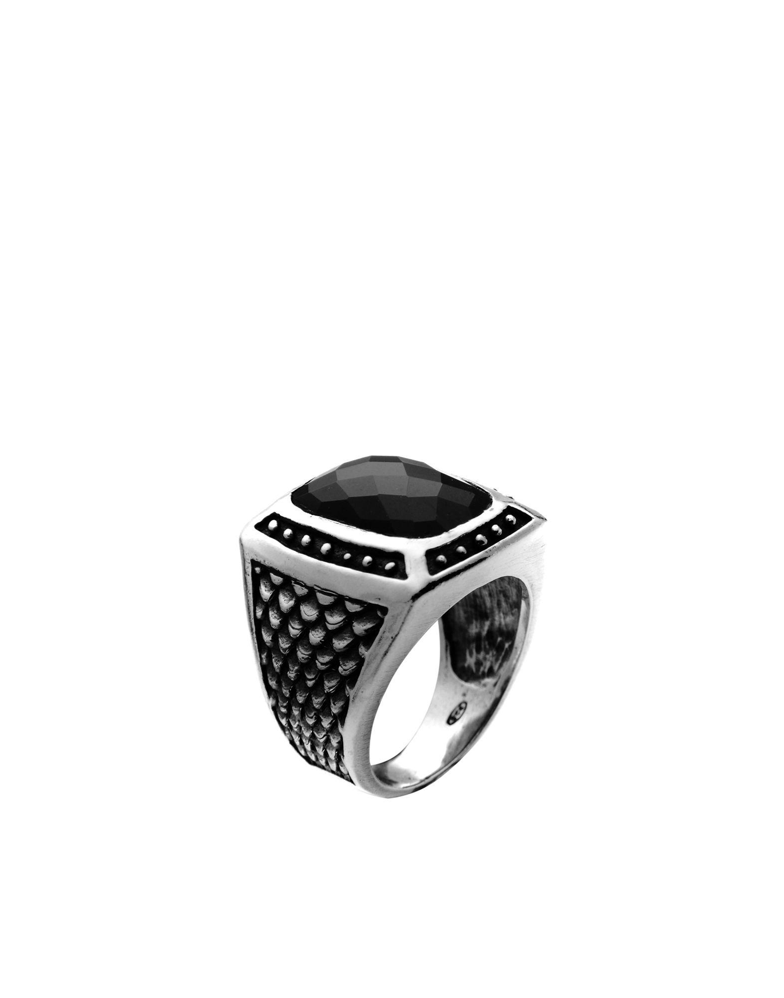 《セール開催中》FIRST PEOPLE FIRST メンズ 指輪 シルバー 20 シルバー925/1000 / オニキス ANELLO SQUASSO & ONICE