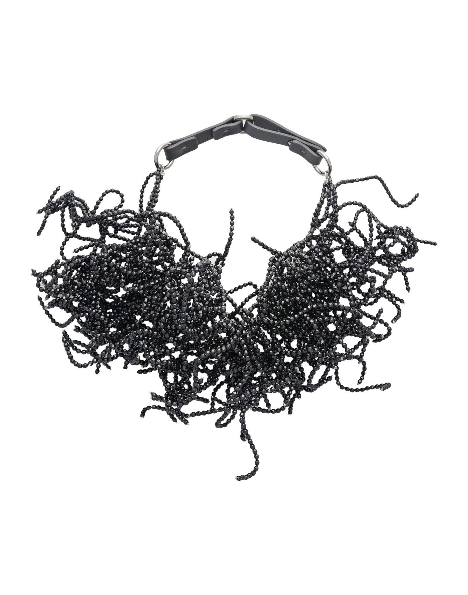 《送料無料》BRUNELLO CUCINELLI レディース ネックレス ブラック めのう / 革 / シルバー925/1000