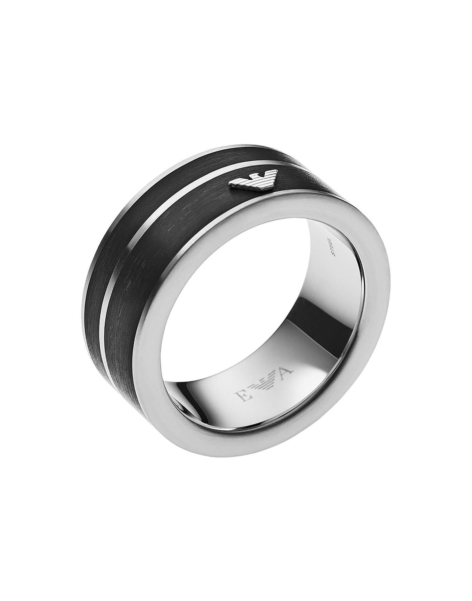 《セール開催中》EMPORIO ARMANI メンズ 指輪 ブラック 19 ステンレススチール / エナメル