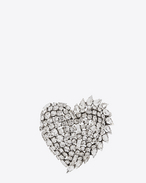 SAINT LAURENT Brooch D smoking heart brooch in silver brass and clear crystal f