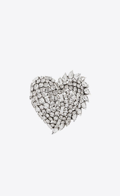 smoking heart brooch in silver brass and clear crystal
