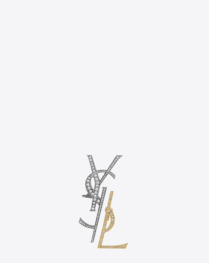 saint laurent monogram deconstructed earrings in gunmetal  gold brass and clear crystal