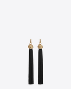 loulou tassel earrings in gold and black viscose