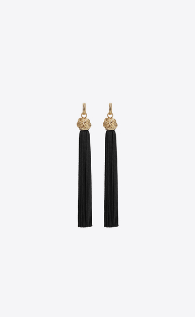 SAINT LAURENT Earrings D loulou tassel earrings in gold and black viscose v4