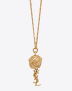 SAINT LAURENT Short Necklaces D monogram brandebourg necklace in gold brass f