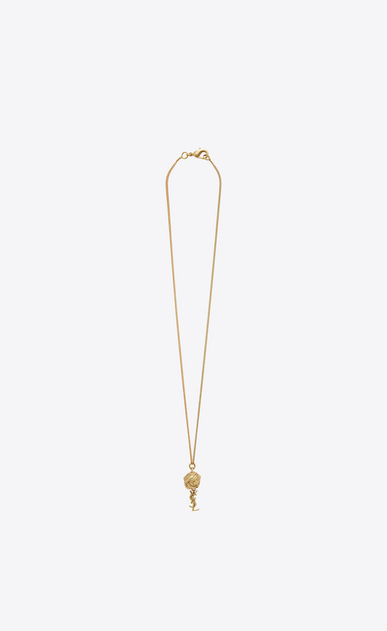 SAINT LAURENT Short Necklaces D monogram brandebourg necklace in gold brass a_V4