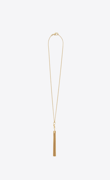 SAINT LAURENT Short Necklaces D monogram mini tassel necklace in gold brass a_V4