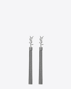 SAINT LAURENT Earrings D MONOGRAM Mini Tassel Earrings in Gunmetal f